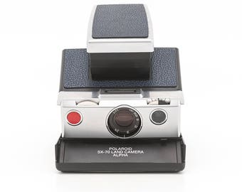 Polaroid SX-70 Land Camera Alpha BC (Black Chrome) - With New Dark Blue Leather Covering - Tested Guaranteed Working SX70