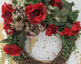 Valentine Wreath, Red Rose Wreath, Valentine's Day Wreath, Valentine Front Door Wreath