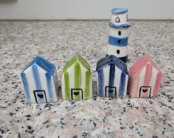 4 Little Ceramic Beach Houses and a Lighthouse, pottery House,Light House,Striped Beach Houses,Shelf village,Summer House,Beach House Decor