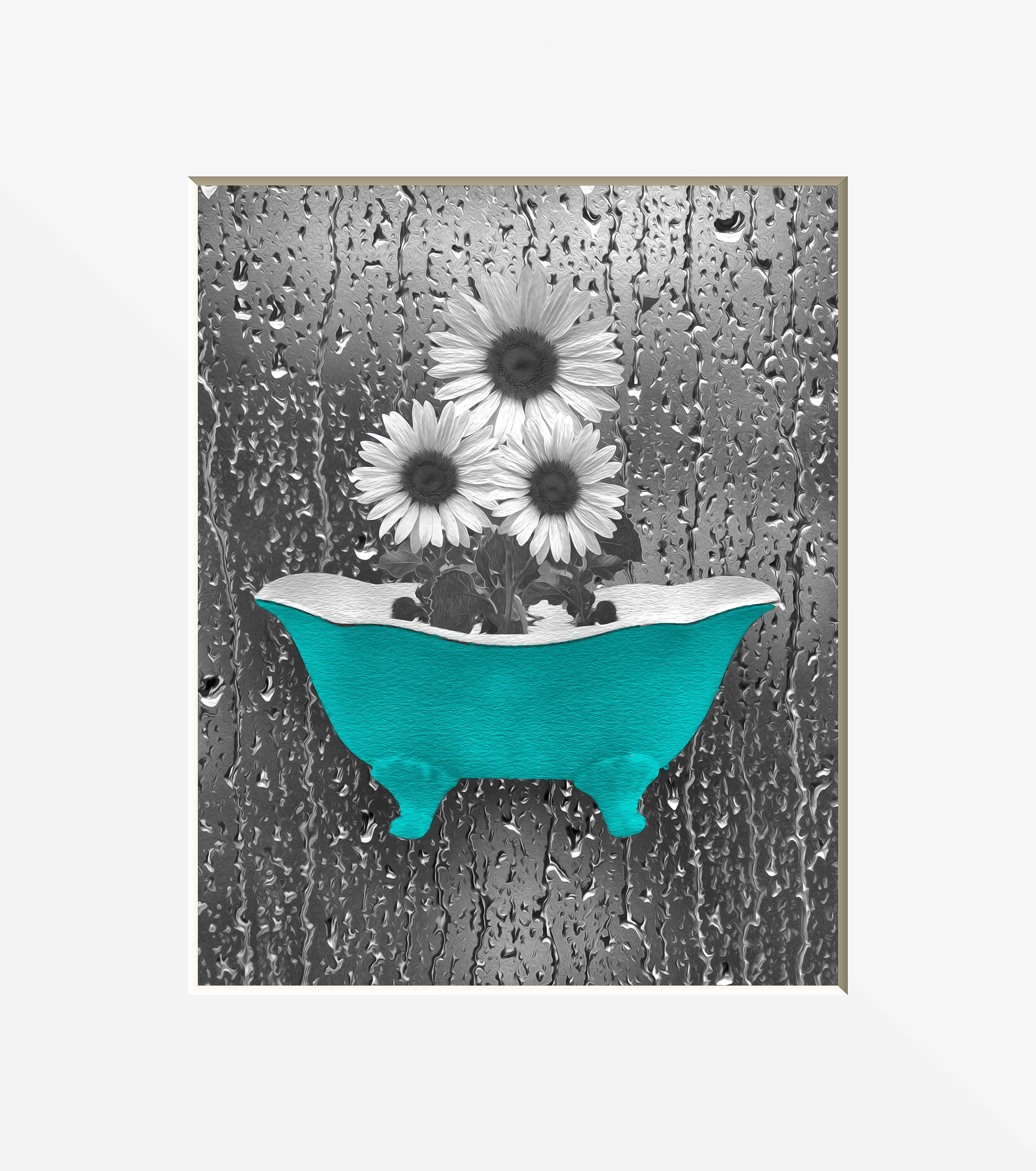 Sunflower bathroom decor teal gray wall art sunflower for Teal and grey bathroom sets
