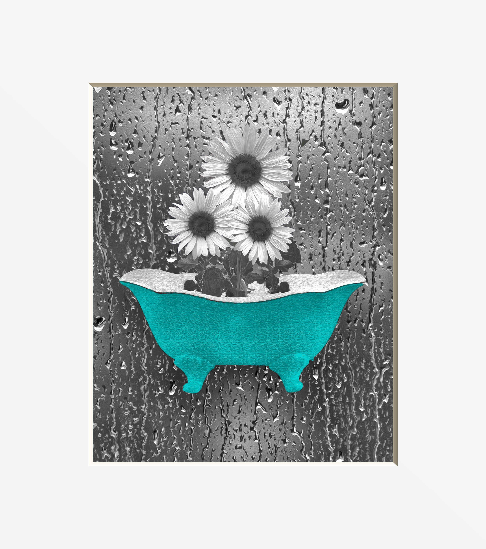 Sunflower bathroom decor teal gray wall art sunflower for Teal and gray bathroom decor