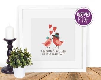 Personalised Cross Stitch Pattern, Wedding Cross Stitch Pattern, Anniversary Cross Stitch by Peppermint Purple