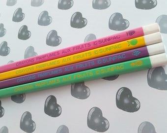 4 Perfumed Pencils with Fruits Sunpac Japan Vintage 80s