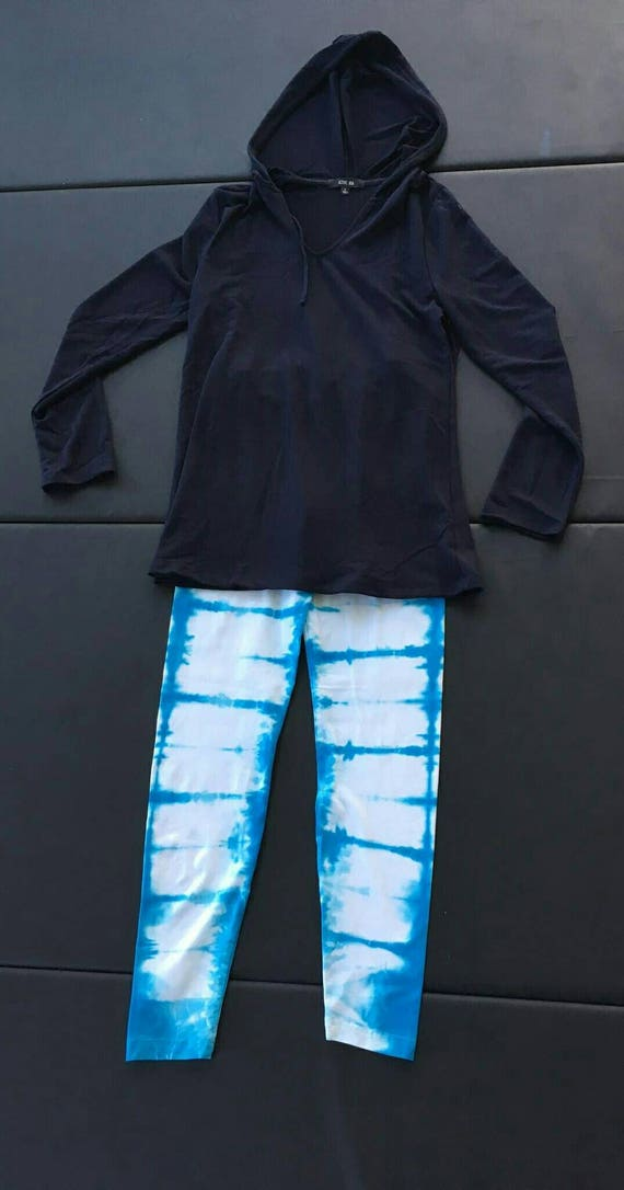 Tie Dye Leggings/Hand Dyed/Womens Tie Dye/Glacier Blue/Eco-Friendly Dying
