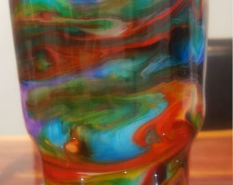 Tumbler with alcohol ink design