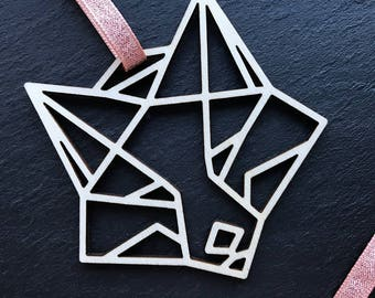 Geometric Fox // Plywood Christmas Tree Decoration // Copper Ribbon