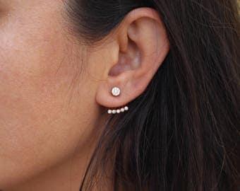 Small Ear Jacket Earrings / Minimalist  Ear Jackets / Pair