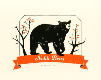 Noble Bear Screen Print. Orange & Black. Artist Proof.