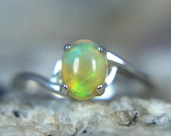 OPAL- Sizzling Genuine Ethiopian Welo Opal Cabochon Sterling Silver Solitaire Ring!