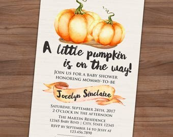 Pumpkin Baby Shower Invitation - Fall Baby Sprinkle Invite - A Little Pumpkin - Autumn - Printable or Printed - SHIPPING INCLUDED  4x6