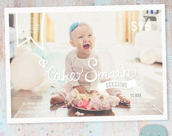 ON SALE Cake Smash Marketing Board 5x7 - Photography Marketing - Photoshop template - IJ001 - Instant Download