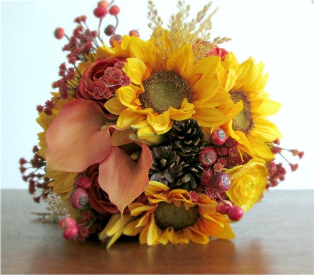 Fall Wedding Flowers List: Fall Silk Flower Bridal Bouquet Sunflowers Ranunculus Calla