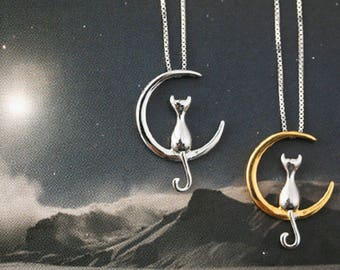 Cat pendants etsy cat on the moon necklace fine cat pendant pet animal silver kitty mozeypictures Choice Image