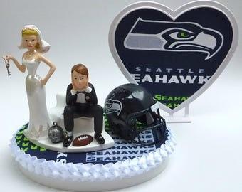 Wedding Cake Topper Seattle Seahawks Football Themed Ball And Chain Key W Garter Bride
