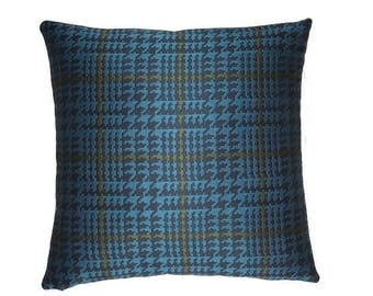 "Houndstooth by Paul Smith  Peacock - Maharam  -17""x17""  Pillow - includes feather insert"