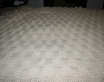 Vintage Off White/Beige Crocheted Afghan, Basket Weave Pattern