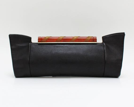 Vintage 1940s Art Deco Black Leather Clutch