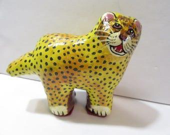 Folk Art Leopard Whimsical Cat Whistle Ceramic