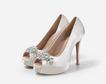 Neptune Crystal Embellished Wedding Shoes, Bridal Shoes, Silk Satin Ivory Heels, Crystal Wedding Shoes