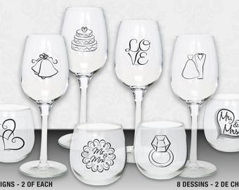 Wedding Beverage Clings to decorate any glassware. Beverage decor, glass decorations, wedding glass decorations (#61953)