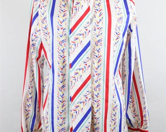 Jonquil Womens 1980s 80s Vintage Colorful Ribbon Tie Neck Secretary Blouse