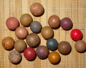 Lot of 19 Antique Clay Marbles / Collectible Marbles / Game Marbles / Toy Marbles / Marble Lots / Lot #207