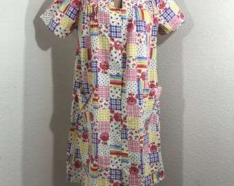 SNAP-UP House Dress Vintage Robe Spring Floral Dresses SZ M/L With Pockets