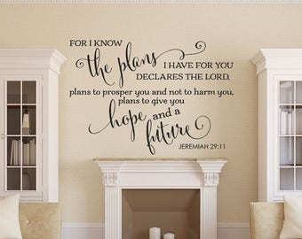 CLEARANCE SALE Bible Verse Wall Decal - Christian Wall Decal - Family Wall Decal - Jeremiah 29:11 - Wall Decal - Bible Verse - Christian Wal