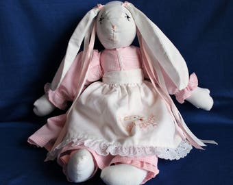 Handmade Stuffed Bunny Rabbit Toy from Material with Pink Dress and White Embroidered Apron