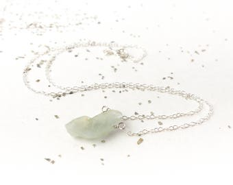 Raw Aquamarine Necklace Blue Crystal Necklace Handmade Jewelry for her March Birthstone Gift Pisces Jewelry Under 25 Raw Crystal Trend