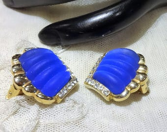 Pretty Vintage Colbalt Blue Glass and Rhinestone Earrings
