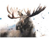 Moose print moose gifts watercolor moose elk print elk art moose decor moose wall art animal print wildlife print canadian moose