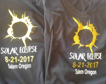 Solar Eclipse Shirt, 8-21-2017, Custom where you will be for the Solor Eclipse.