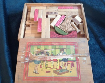 Antique childrens wood blocks set