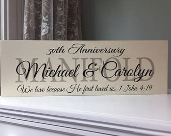 50th Wedding Anniversary Gifts for Parents-Gift Ideas-party decorations-Anniversary center piece-25th Anniversary-Wood Sign-Wooden Sign