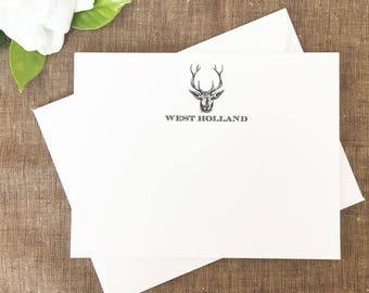 Deer Antler Note Cards, Note Cards for Men, Hunting Thank You Notes for Men, Hunter, Stationary, Stationery, Set of 25 Cards