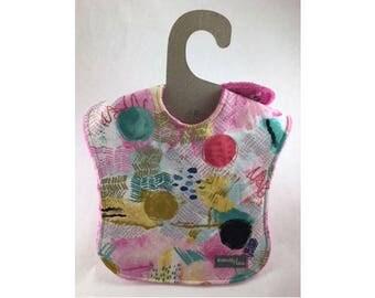 Baby girl bib, baby bib, leak proof bib, 1st birthday bib, art deco bib, shower gift, rainyday, ready to ship, designer baby, first birthday