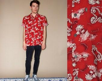 80's vintage men's claret Hawaiian printed beach shirt