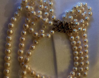 Gorgeous Triple Three Strand Cultured Pearl Necklace With 9ct Gold Clasp With Garnets - Appraised 2100 Dollars