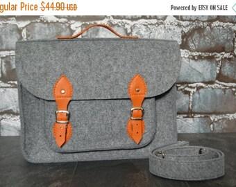 Christmasinjuly Felt Laptop bag 13 inch, felt satchel,macbook pro,macbook air 13 inch sleeve, case, bag with orange leather strap
