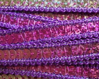 Violet Sequin Indian Trimming 1 cm x 50 cm