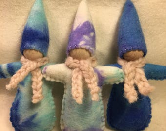 Winter pocket doll Gnome, felt Australian made Waldorf inspired Blue