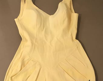 Vintage Kajak Swimsuit Yellow 1960s Swimming Bathing Costume