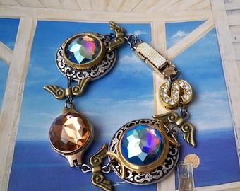 "Bracelet Victorian steampunk ""Mediterranean color"""