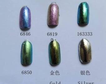 1g/jar Mirror Powder Chrome Pigment Nail Glitters Magic Powder 6 colors