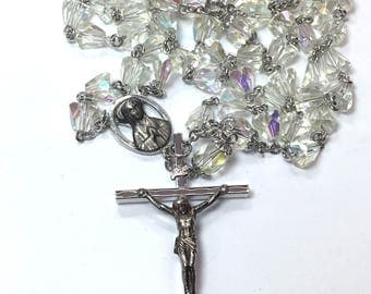 Catholic Rosary Aurora Borealis Beaded Rosary Faceted Clear Glass Prayer Beads First Communion Confirmation Gift