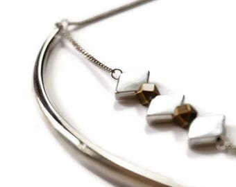 Rasul-metal silver trio of diamonds necklace