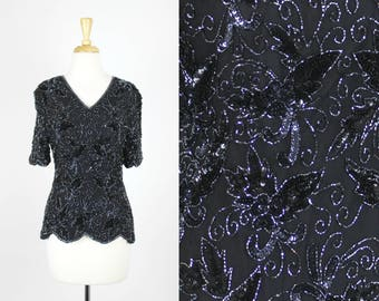 Vintage Sequin Blouse Black Shiny Top Size Small Shirt Beaded Silk