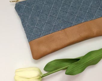 Chambray Clutch, Blue Clutch with Cognac Leather, gift for her, Blue Clutch, Denim Bag, Chambray Bag