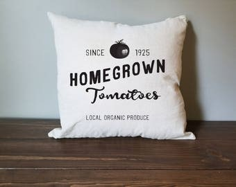 homegrown tomato farmhouse pillow cover. rustic decor. farmhouse decor. accent pillow.